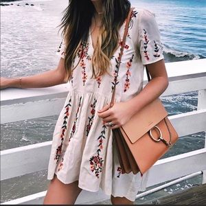 Zara white floral embroidered dress NWOT